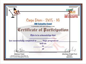 Certificate IIM Sample certificate