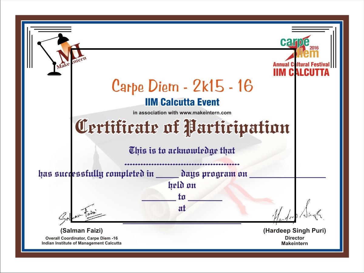 ... Sample Certificate Of Participation Carpe Diem 2017 At Iim C Iilm Blog  ...